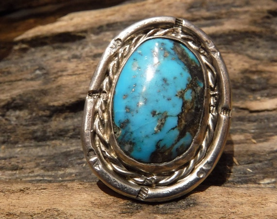 Vintage Large Mens Turquoise Ring Sterling Navajo Native American Heavy 14.3 Grams Size 8 Sterling Silver Mens Silver Ring Turquoise Ring
