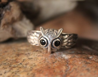 Vintage Sterling Silver Owl Ring Size 9 adjustable Vintage Owl Ring 4.8 Grams Silver Rings Vintage Sterling Heart Rings Vintage Owl rings