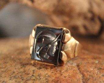 1940's Vintage Mens 10K Gold  Soldier Ring Size 10 Vintage Mens 10K Yellow Gold Ring 5.1 Grams Roman Ring Mens Intagilo Ring Mens Gold Ring