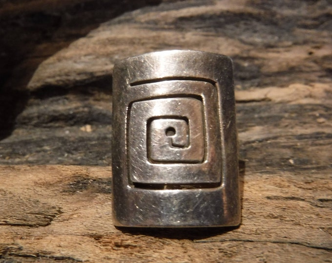 Large Vintage Maze Ring Mexico Sterling Silver Womans Ring 9.1 Grams Size 6 Stamped 925 Mexico Silver Vintage Rings Vintage Silver Rings