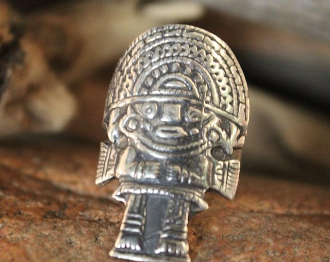 Sterling Tumi Vintage Ring Peruvian Silver Ring Mens Vintage Ring 8.5 Grams Size 8 Adjustable Tunmi Ring Vintage Aztec Rings Mayan Ring