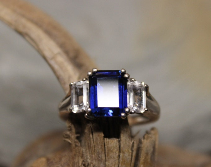 1990's Vintage Sapphire Sterling Silver Ring 3.7 Grams Size 5 Emerald Cut Sapphire Ring Vintage Blue Sapphire Ring Blue Sapphire Engagement
