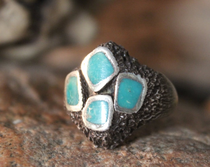 Navajo Native American Silver Turquoise Ring Weight 11.9 Grams Size 7.5 Mens Turquoise Silver Ring Sterling Rings Vintage Mens Silver Rings