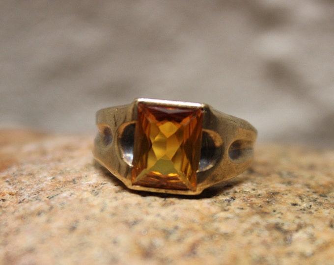 1950's Vintage Mens Orange Sapphire Ring 10K Gold Mens Ring 3.9 Grams Size 9 Vintage Mens Sapphire Ring Mens Gold Orange Sapphire Ring Man