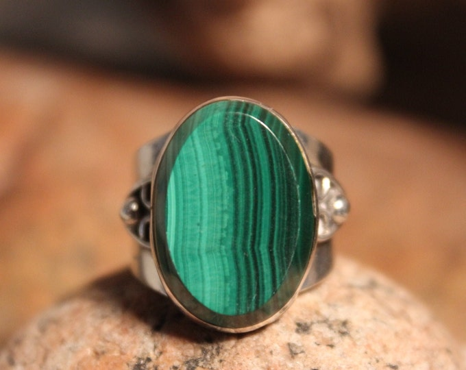 Sterling Mexico Large Green Malachite Mens Ring 10.9 Grams Adjustable Size 7 Vintage Rings Vintage Man Ring Mexican Vintage Ring Mans Rings