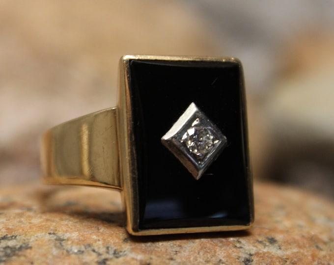 1940's Vintage Mens Large Diamond Ring 10K Solid Yellow Gold Mens Ring 12 Grams Size 14 Men Vintage Diamond Man Ring Mens 10K Onyx Ring