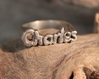 Mens Silver Signet Ring Charles Man Vintage Ring Mens Silver Rings Size 10.5 Silver Man Ring 6.3 Grams  Mens Ring Vintage Mens Initial Ring
