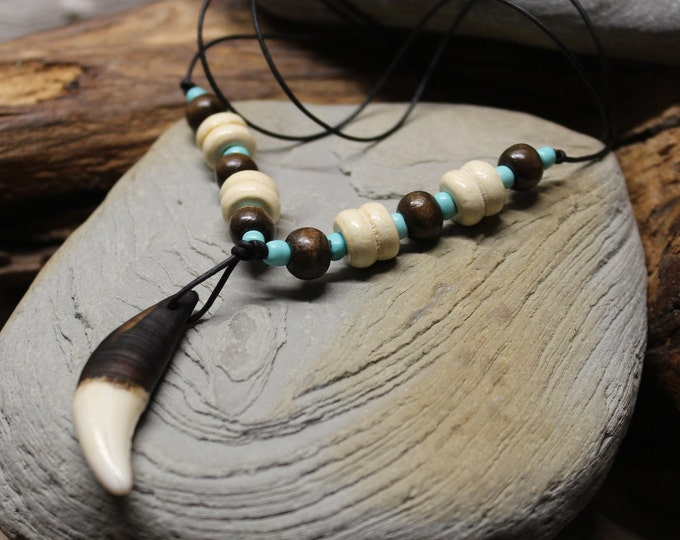 Large Wolf Tooth Necklace Wolf Teeth Necklace Wolf Necklace Wolf Tooth Rustic Necklace Adjustable African Native American Large Wolf Tooth