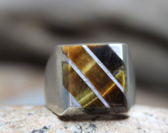 Sterling Mexico Large Tigers Eye Ring Mens Ring Heavy 16.3 Grams Size 12 Stamped 925 Vintage Sterling Ring Mexican Vintage Ring Mens Rings