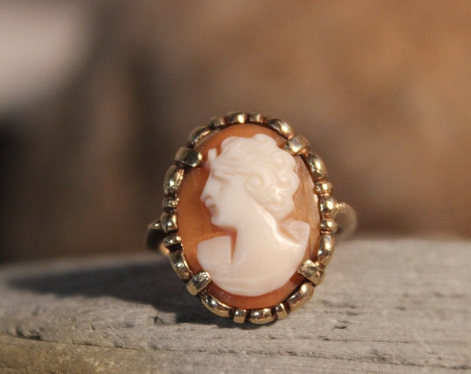 Victorian 10k Solid Gold Cameo & Diamond Ring 3.5 Grams Size 6 Cameo Gold Ring Victorian Yellow Gold Diamond Rings Vintage Cameo Gold Rings