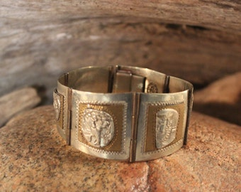 Vintage Sterling Silver Bracelet Mexico Heavy 38.3 Grams Sterling Aztec Bracelet Mayan Bracelet Vintage Silver Hinged Bracelet Sterling