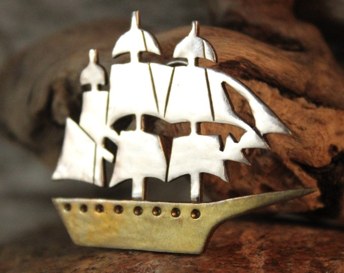 Large Ship Pendant Vintage Mexico Sterling Pendant 15.6 Grams Silver Pirate Ship Pendant Sterling Silver  Mexico Ship Pendant Large Pendant