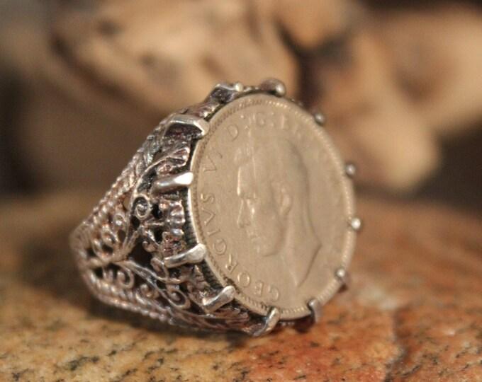 Vintage Sterling Silver Coin Ring Size 6 Vintage Silver British Coin Ring 7.7 Grams Sterling Coin Ring Mens Silver Ring Womans Silver Rings