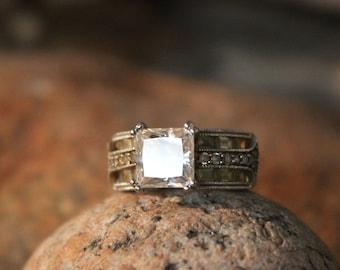 Vintage Ring Princess cut Cubic Zirconia Sterling Ring Vintage Cluster Ring 7.6 Grams Size 6 Multi Stone Sterling Silver Ring Vintage Silver