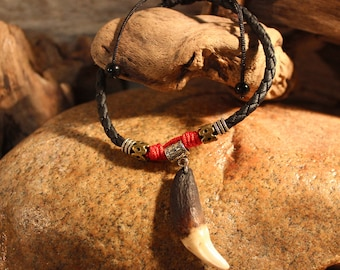 Large Wolf Tooth Ankle Bracelet Wolf Teeth Bracelet Wolf Tooth Bracelet Adjustable Ankle Bracelet African Native American Tribal Spiritual