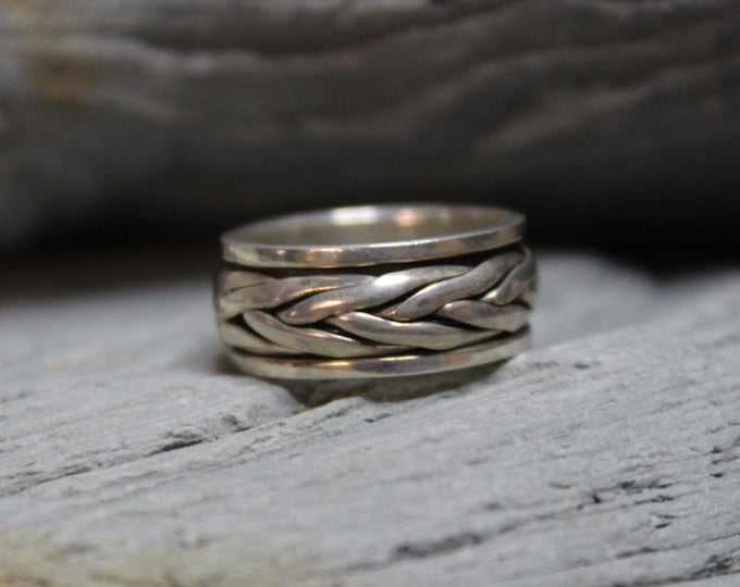 Spinner Ring Mexico Sterling Silver Spinner Ring 6.3 Grams Size 5.75 Stamped 925 Mexico Silver Band Ring Mens Ring Wide Band sterling Silver