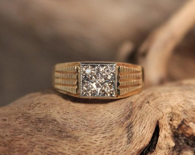Mens Vintage Diamond Ring Mens 10K Solid Yellow Gold Ring 5 Diamonds 5.1 Grams Size 9 Mens Diamond Ring Vintage Gold Rings Mens Diamond
