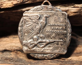 Sterling NRA 1954 National Rifle Association Championship Medal Large  Rare NRA Medal 28.3 Grams Sterling Silver Large Vintage Silver Medal