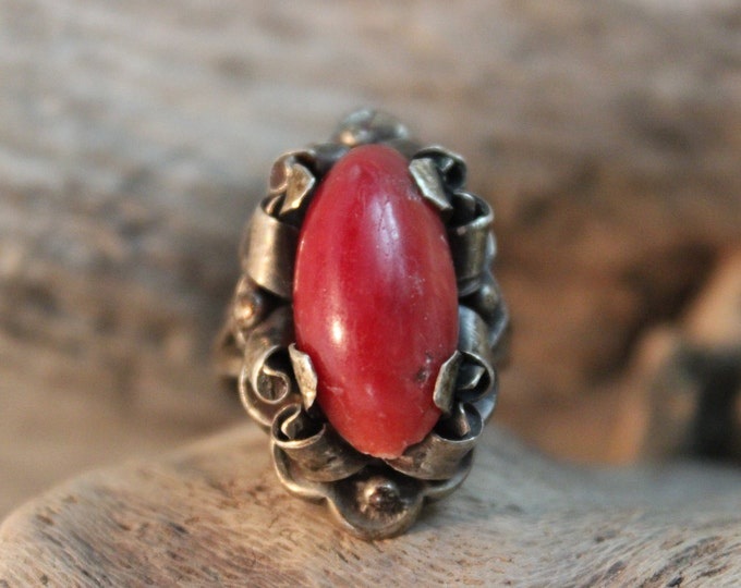 Large Vintage Coral Ring Sterling Silver Ring 7.2 Grams Size 5 Silver Coral Ring Mexico Silver Vintage Mexico Silver Mens Ring Womans Ring