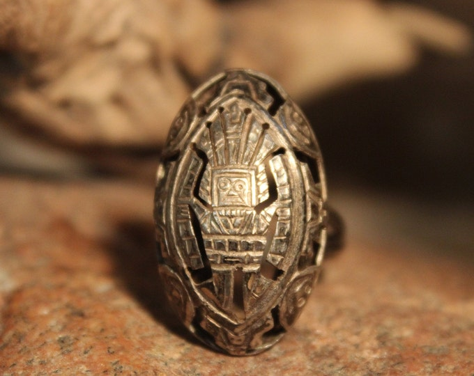 Rare Vintage Sterling 1950 Peruvian Ring Inca Sterling Silver Dome Ring 3.6 Grams  Size 8 Adjustable  Peru Rings  Peruvian storyteller Ring