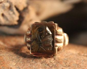Vintage 10K Solid Rose Gold Roman Soldier Mens Gold Ring Heavy 7 Grams Size 12 Vintage Mens Gold Ring Conquistador Ring Mens Gold Rings
