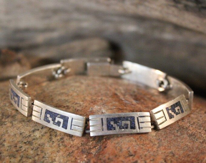 Silver Blue Lapis  Bracelet Vintage Sterling Silver Link Bracelet Heavy 29.3 grams 925 Mexico Blue Lapis chip inlay Aztec Vintage Bracelet