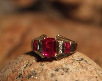 1980's Emerald Cut Ruby Diamond Ring 10K Yellow Gold Diamond Ring 3.3 Grams Size 5  Ruby Diamond Wedding Band Vintage Gold Rings  Diamond