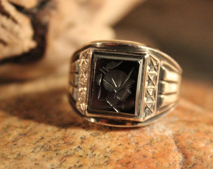 Vintage Intaglio  10K Gold Sterling Roman Soldier Ring 7.3 Grams Size 11 Vintage Hematite Gold Ring Silver Vintage Ring Mens Silver Rings