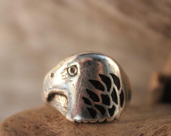 Mens Ring Vintage Navajo Eagle Ring 8.9 Grams Size 11 Signed  Native American Navajo Eagle Ring Sterling Silver Mens Rings Mens Silver Rings