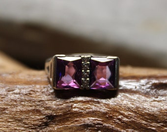 1970's Vintage Purple Sapphire Ring 10K Solid Gold Sapphire Ring 3.9 Grams Size 6 Purple Sapphire & Topaz Ring Vintage solid Gold Rings