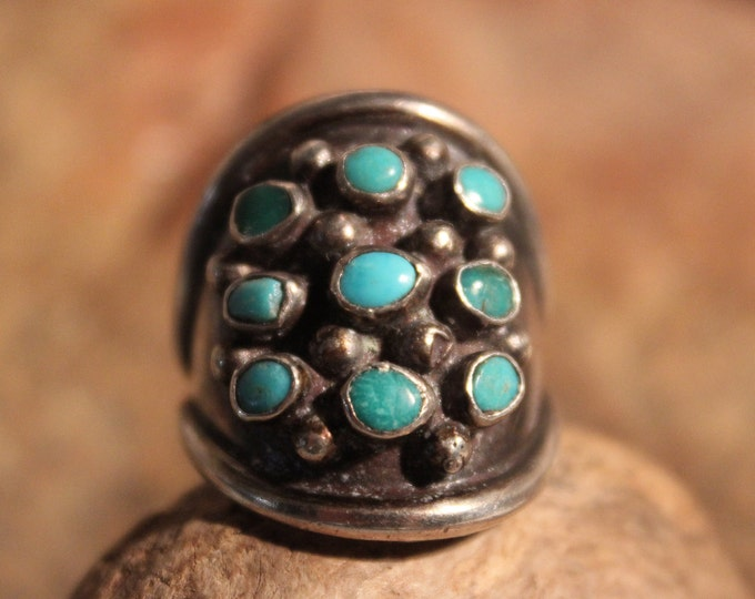 Large Mens Ring Navajo Sterling Silver Mens Turquoise Ring Signed 9.1 Grams Size 8.5 Mens Silver Ring Vintage Sterling Silver Ring Mens Ring