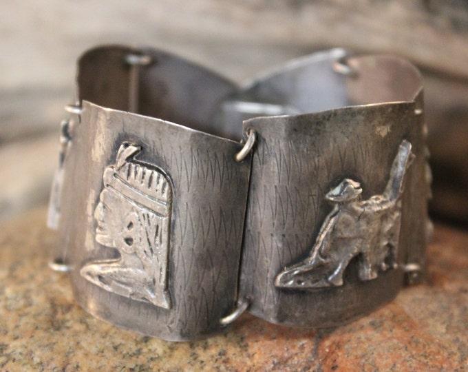 "Vintage Heavy Peruvian Inca 900 Silver Panel Bracelet Heavy 39.1 grams 6.5"" Long Signed JF 900 Peruana Handmade Silver Panel Bracelet"