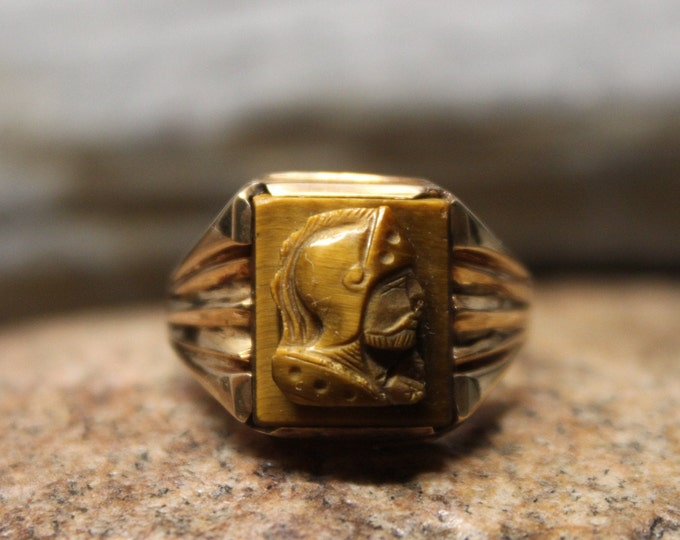 1950's Vintage  Mens 10K Solid Gold Roman Soldier Ring 5.3 Grams Size 12.5 Vintage Man Ring Yellow Gold Ring Mens Vintage Gold Rings 1950