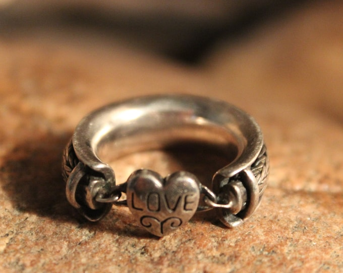 Vintage Sterling Silver Heart Ring Size 5.5 Vintage Heart Ring 9.6 Grams Silver Rings Vintage Sterling Heart Rings Vintage Heart rings