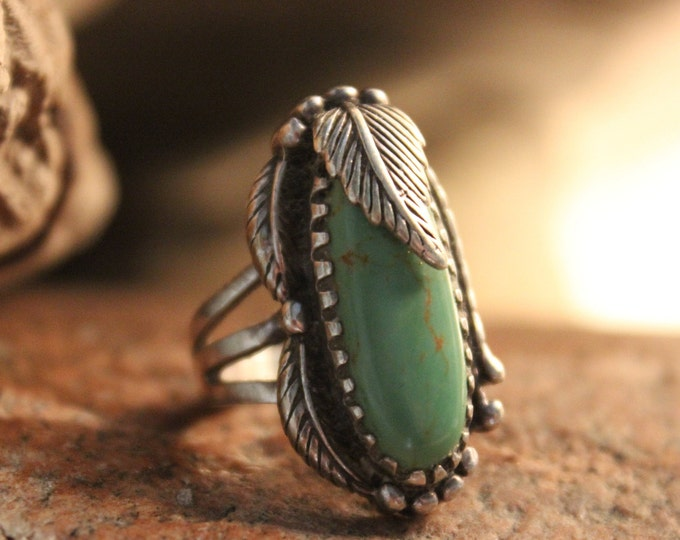 Large Southwestern Sterling Silver Turquoise Ring 11.2 Grams Vintage Sterling Silver 925 Size 6 Unisex Mens Silver Ring Turquoise Mens Rings