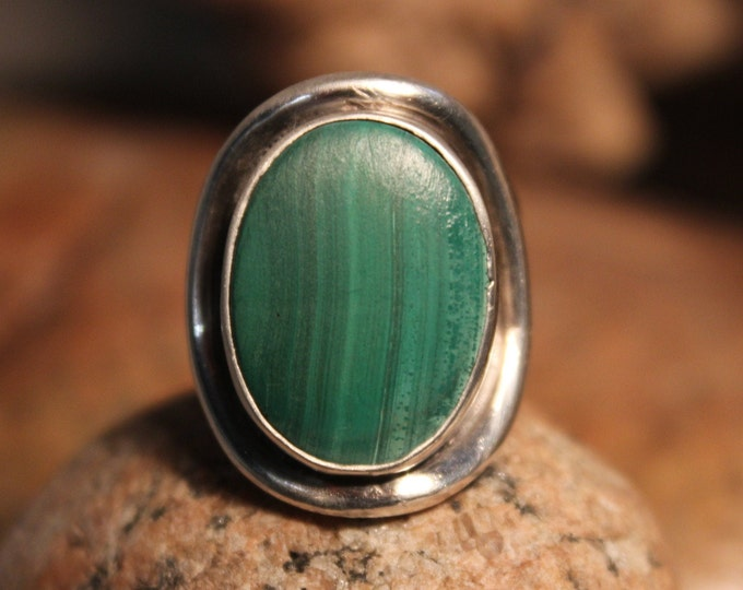 Sterling Mexico Large Green Malachite Mens Ring Heavy 16.5 Grams Size 8 Vintage Mens Rings Vintage Man Ring Mexican Vintage Ring Mens Rings