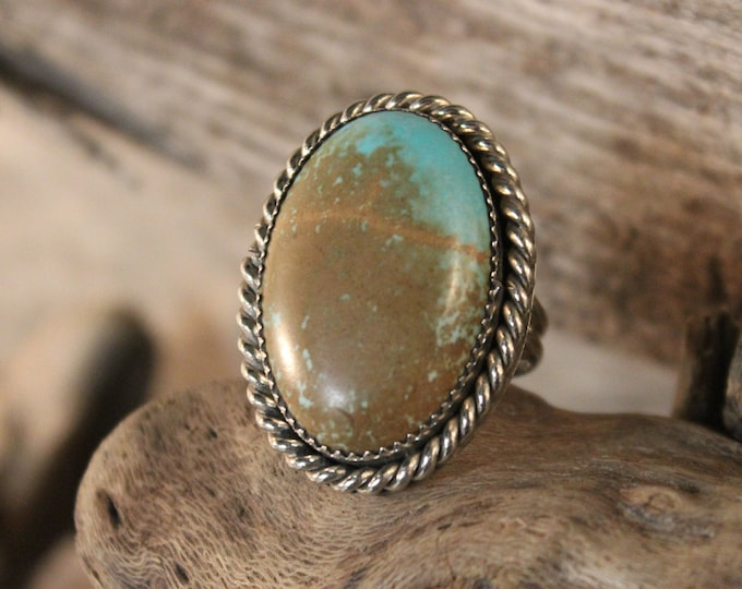 Vintage Large Royston Turquoise Ring Sterling Navajo Native American Heavy 14.4 Grams Size 10 Sterling Silver Mens ring Mens Turquoise Ring