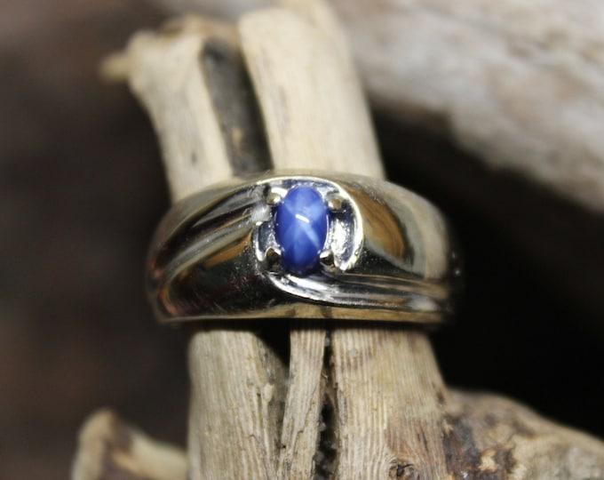 1980's Vintage Blue Star Sapphire Ring 10K Gold Mens Ring 5.5 Grams Size 9 Vintage Mens Sapphire Ring Mens Gold Blue Star Sapphire Ring