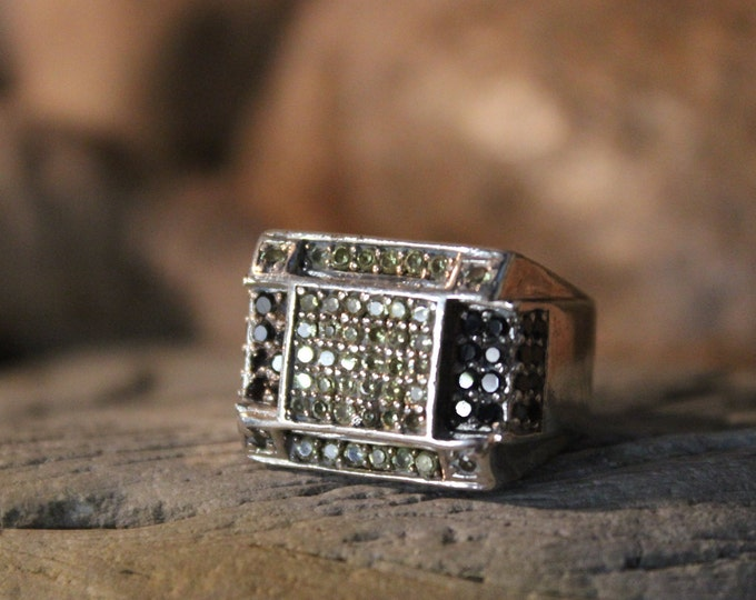 1980's Vintage Mens Ring Cubic Zirconia Ring Man Sterling Gentlemans Deco Ring Size 8.5 Heavy 15.8 grams Mens Silver Ring  Heavy Mens ring