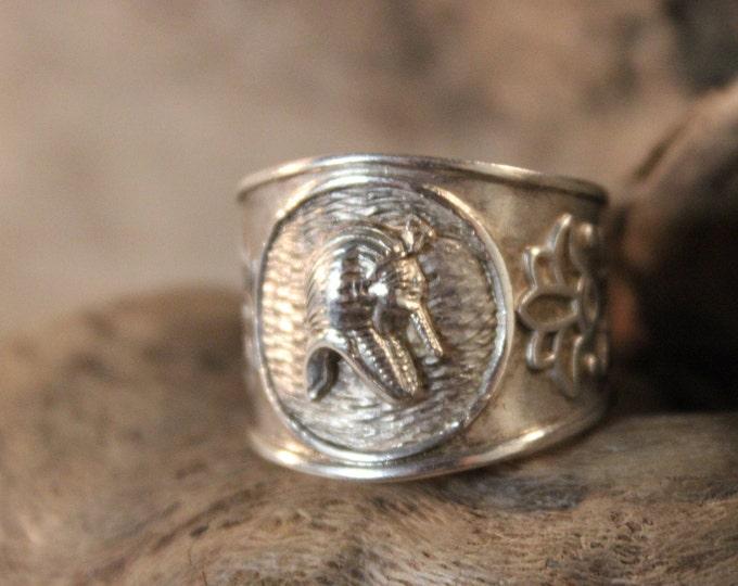 Large Vintage Egyptian Ring Silver Ring King Tut Sterling Ring 5.7 Grams Size 9 Adjustable Mens Ring Egyptian King Tut Silver Ring Vintage