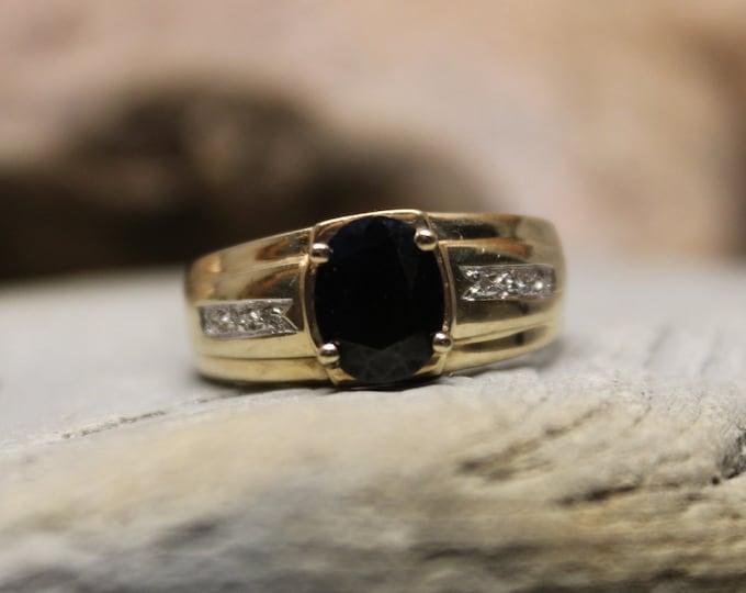 Vintage 1990's Mens Gold Black Sapphire Ring Men Diamond Ring 10K Solid Gold Mens Ring 4.5 Grams Size 11 Mens  Ring 10K Signet Ring Gold