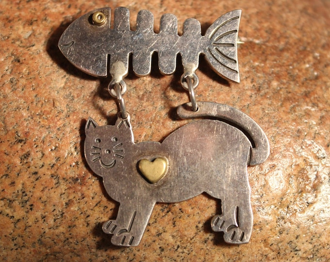 Large Silver Cat Pin Cat & Fish Bone Heavy Vintage Sterling Silver Pin 18.9 grams 925 Silver Mexico Large Cat Pin Sterling Silver Vintage