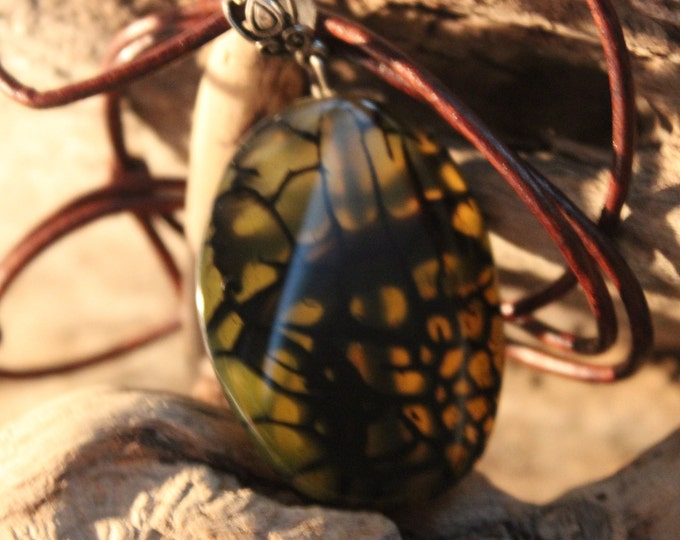 Hand Carved Pendant Necklace Large Natural Stone Pendant  Dragon Vein Pendant Handmade Pendant Necklace Handmade Pendant Natural Pendant