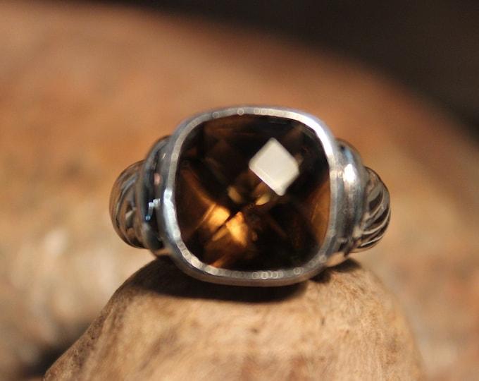 Vintage 1990's Sterling Smokey Quartz Ring Vintage Ring Size 7 Vintage Silver Rings 6.7 Grams Mens Vintage Silver Ring Unisex Silver Rings