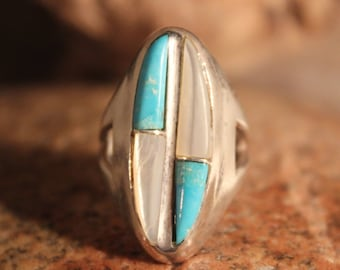 Navajo Zuni Native American Silver Ring Weight 10 Grams Size 6 Turquoise MOP  Inlay Sterling Silver Ring  Native American sterling Rings