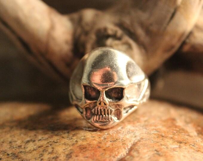 Mens Silver Ring Vintage 925 Mens Biker Skull Ring Heavy 12.5 Grams Size 9.5 Vintage 925 Biker Ring Large Vintage Sterling Silver Mens Ring