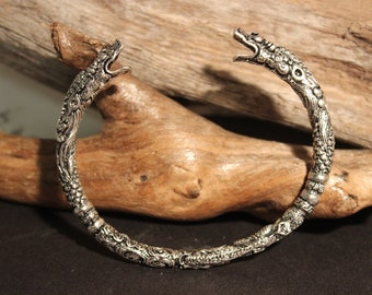 Viking Silver Wolf Bracelet Viking Norse Cuff Bracelet Norse Silver Viking Wolf Head Bracelet 34.9 Grams Viking Jewelry Norse cuff Bracelet