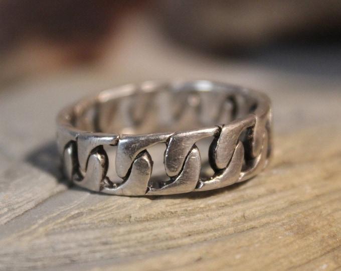 Mens Viking Ring Sterling Viking Band Ring Friendship Ring Chain Ring 7.1 Grams Size 14.5 Silver Band Ring Mens Silver Ring Man Wedding Band