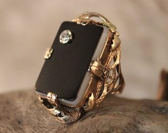 Vintage 10k Solid Gold Diamond Ring Onyx Gold Ring 5 Grams Gold Womans Diamond Ring Size 4 Gold Rings Vintage Onyx Ring Vintage Diamond Ring