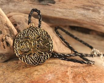 "Odin Norse Vikings Knot Amulet Necklace Oden Ravens Tree Of Life Pendant Necklace Viking Pendant 12.5 Grams 18"" Viking Tree Of Life Pendant"